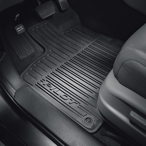 FH Group F11309BLACK Solid 3 Piece Heavy Duty All Weather Floor Mats Black